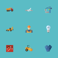 Flat Icons Excavator, Worker, Mitten And Other Vector Elements. Set Of Industry Flat Icons Symbols Also Includes Worker, Toolkit, Pipeline Objects.