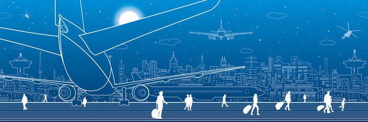 Wall Mural - Airport scene. The plane is on the runway. Aviation transportation infrastructure. Airplane fly, people get on the plane. Night city on background, vector design art
