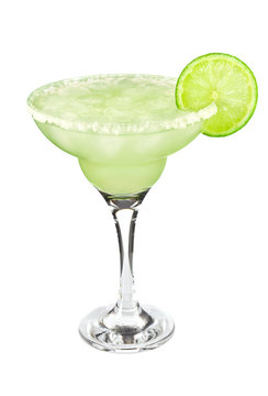 Cocktail classic Margarita with lime and salt, isolated on white