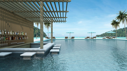 Swimming pool bar have view sea - 3D render