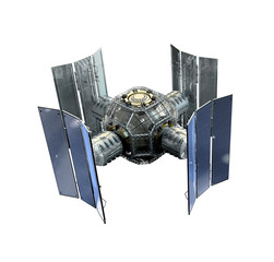 3D Illustration of a space station satellite flying over Earth with reflective solar panels and an interchangeable modular structure, with isolation path included in file, on white.