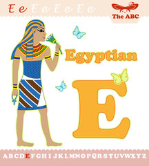 Letter E with Egyptian for ABC book