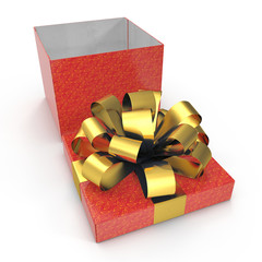 Empty Square red giftbox on white. 3D illustration, clipping path