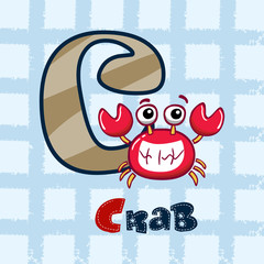 C is for crab. vector illustration