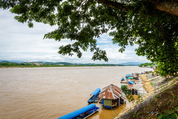 Boat for travel at Mekong river in the place named Golden Triangle