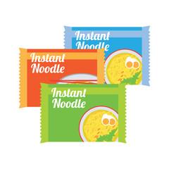 instant noodles in sachet packaging. vector illustration