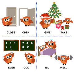 opposite word text and background for preschool (close open give take even odd ill well). vector illustration.