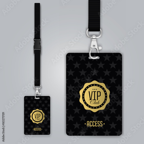 Set Of Lanyard And Badge Design Example Vip Pass Template Vector - Free lanyard template
