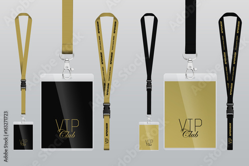 Set of lanyard and badge. Design example vip pass. Template vector ...