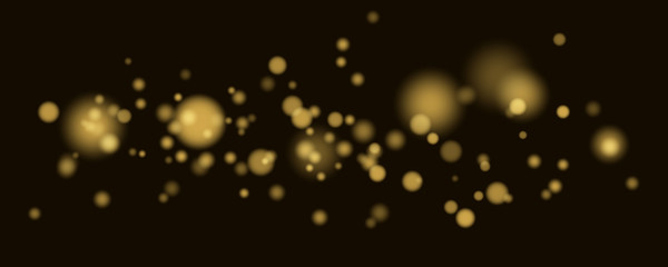 Gold glare bokeh in motion. Abstract christmas background with golden lights. Footage for the photo