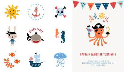 Pirate Birthday Invitation. Vector illustration.