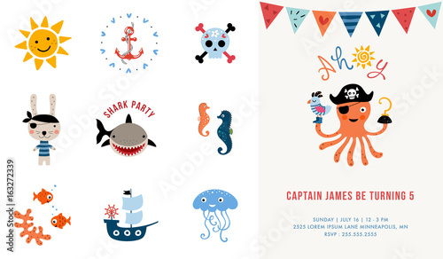 Pirate birthday invitation vector illustration stock image and pirate birthday invitation vector illustration stopboris Gallery