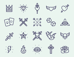Vintage Old School Tattoo Minimal Color Flat Line Stroke Icon Pictogram Symbol Illustration Set Collection