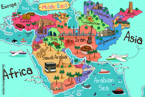 Middle east countries map in cartoon style imgenes de archivo y middle east countries map in cartoon style gumiabroncs Images