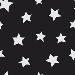 White stars seamless pattern on black background. Texture for print, textile, t-shirt, fabric, wallpaper, card , poster, home decor, packaging, and wrapping paper.