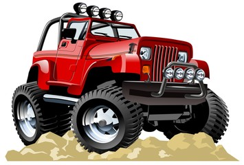 Cartoon jeep isolated on white background. Available EPS-10 vector format separated by groups and layers for easy edit
