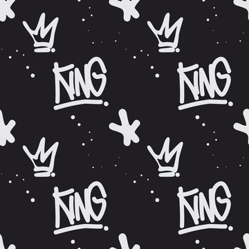 Graffiti style seamless pattern with text 'King'. Handwritten calligraphy texture for print, textile, t-shirt, fabric, wallpaper, card , poster, home decor, packaging, and wrapping paper.