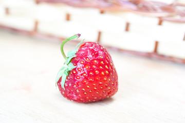 Strawberry on wooden board, decorative wallpaper
