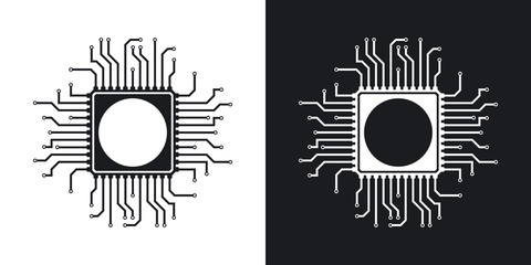 Vector chip icon. Two-tone version on black and white background