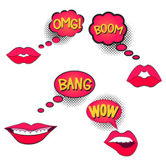 speech bubble, halftone, lips, set, bang boom omg, wow
