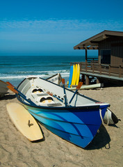 Colorful dory boats on California beach in San Clemente