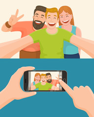 Group of three friends taking a photo with a smartphone. Taking a selfie. Friendship concept. Vector illustration.