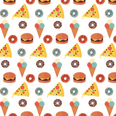 pattern of fast food icons on white background