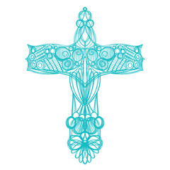 hand drawn blue cross sketch in ornate symmetrical pattern, church bulletin design, Christian religion symbol for Easter and good Friday