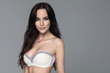 Beautiful woman wear whitre bra