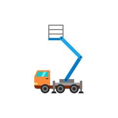 Truck with bucket crane vector icon