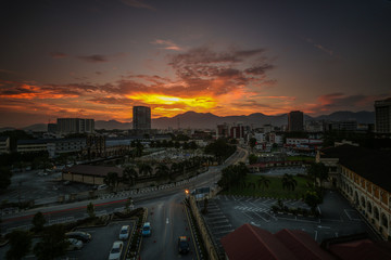 Foto op Canvas Turkije scenery of sunset with light trail at Ipoh Perak. motion blur,soft focus due to long exposure
