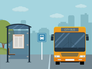 Picture of bus on the bus stop. Flat style illustration