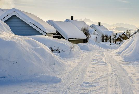 Romantic winter in polar town Tromso ( Tromsø ), Kvaløya, Norway