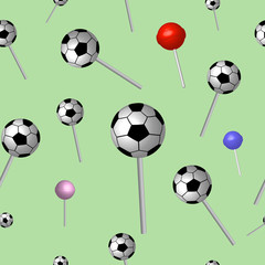 Seamless vector illustration of colorful lollipops. Football lollipop.