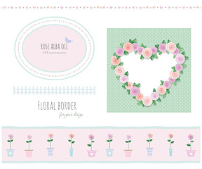 Floral borders, frames and decorative elements set. Included polka dots seamless pattern.