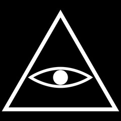 All seeing eye symbol   the white color icon .