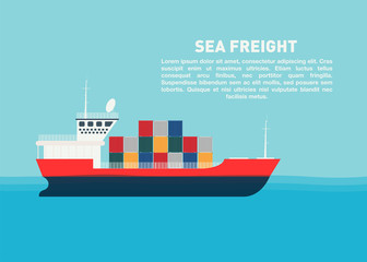 Transport cargo sea ship with containers. Sea transportation logistic, sea freight. Space for text