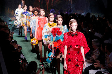 Models present creations by designer Karl Lagerfeld for fashion house Fendi as part of his Haute Couture Fall/Winter 2017/2018 collection show in Paris