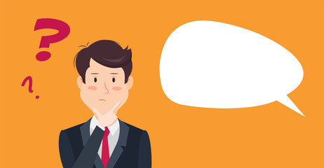 Thinking man with question mark. Cartoon vector illustration of businessman wondering and doubting
