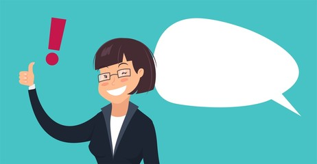smiling woman with exclamation mark and speech bubble cartoon vector illustration of winking businesswoman showing