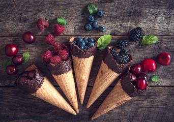 Fresh berries in the cones