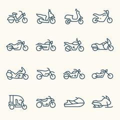Motorcycles line icon set