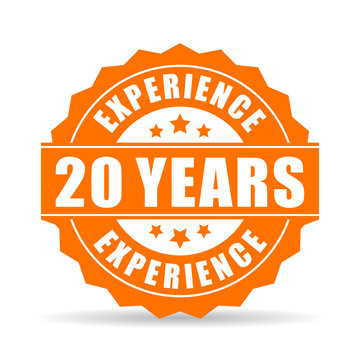 20 years experience vector icon