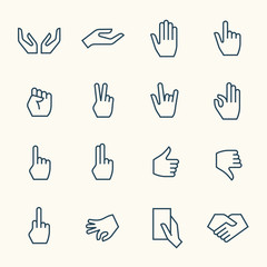 Hands line icon set