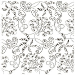 Monochrome seamless pattern with flowers, paisley, swirls stock vector illustration