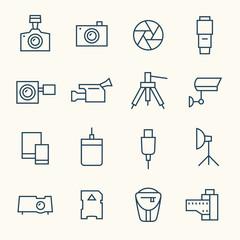 Photography equipment line icon set