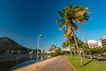 Bicycle and Walking Path Along the Rodrigo de Freitas Lagoon in Rio de Janeiro