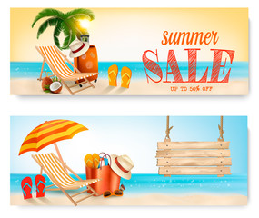 Two Summer Sale Banners With Beach Chair And Ocean. Vector Illustration.