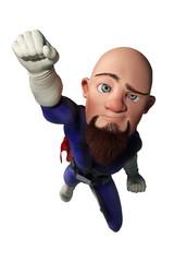 super bald cartoon fluing up bird eye view