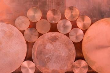 Kupfer Profile in verscheidnene Durchmessern als Hintergrund